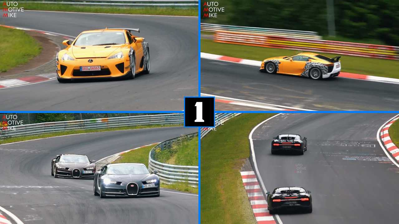 Wide Lexus LFA, Two Bugatti Chirons Spotted At The Nurburgring