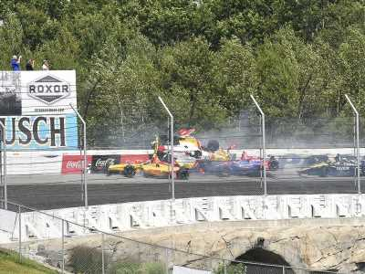 Video: Violent crash brings out red flag on opening lap of IndyCar race at Pocono