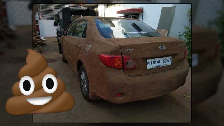 Someone Covered Their Toyota Corolla in Cow Poop to Keep Cool During the Hot Summer