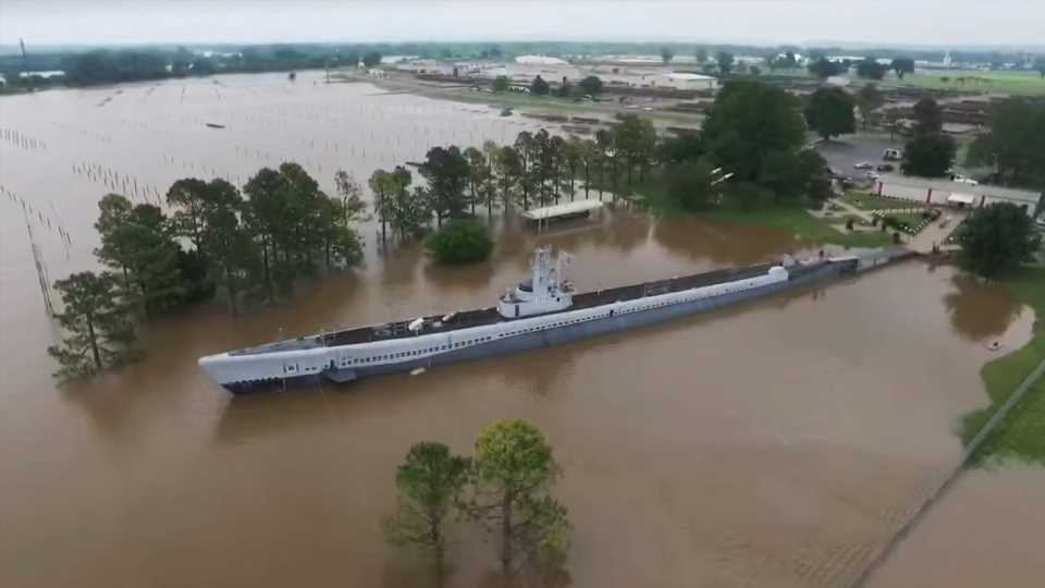 Historic WWII Submarine Museum Refloated Decades Later by Midwest Flooding