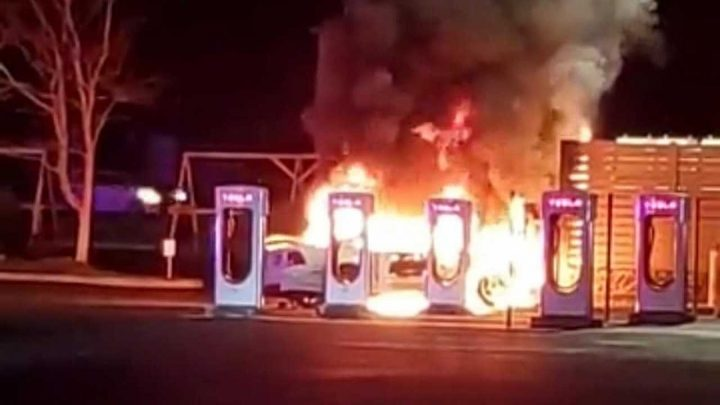 Fire At Tesla Supercharger Caused By Ford Mustang Driver Doing Donuts