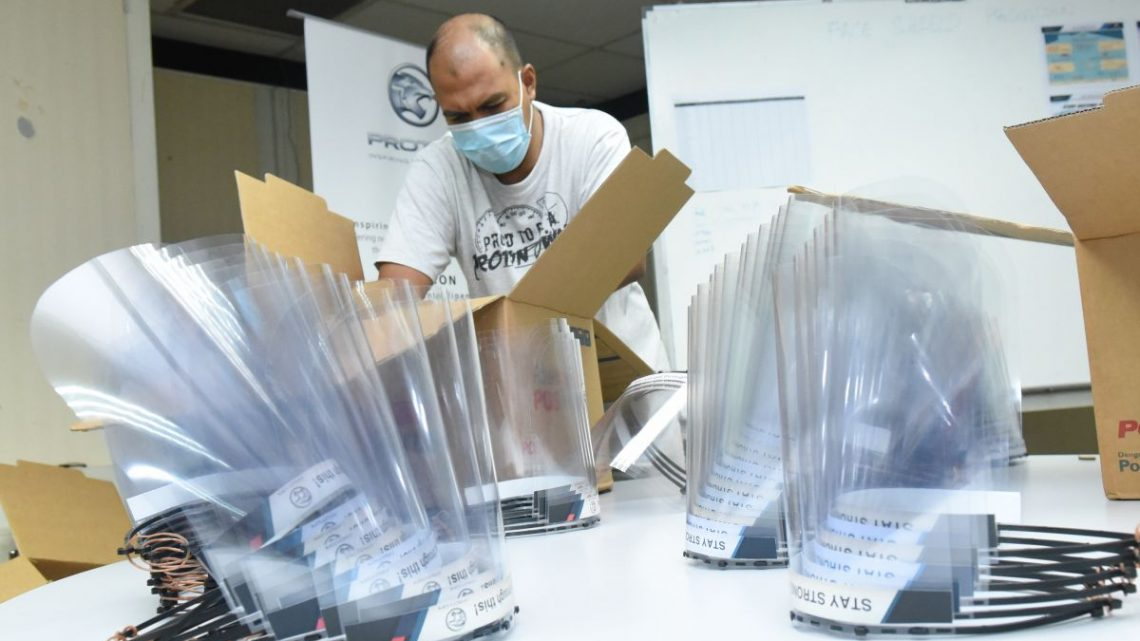 Proton delivering face shields to medical frontliners