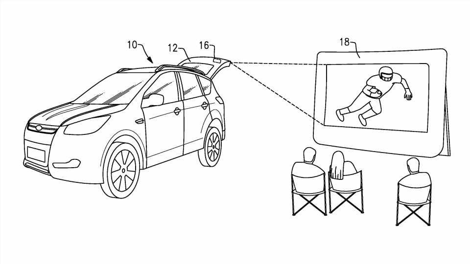 Ford Patents Idea for Building a Movie Projector into SUV Tailgates