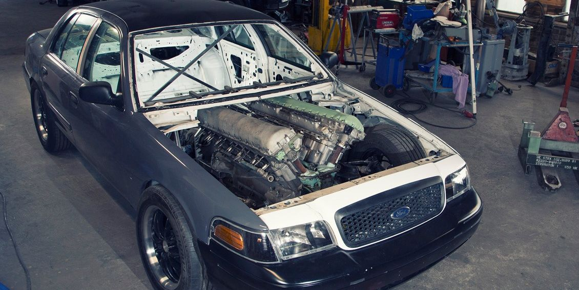 This Man Is Putting a 27-Liter Tank Engine Into a Ford Crown Victoria