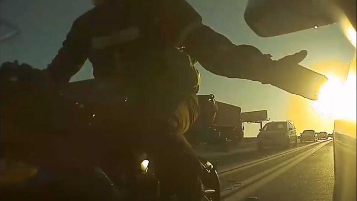 Watch Angry Motorcyclist Purposely Smack Tesla Model 3 Mirror