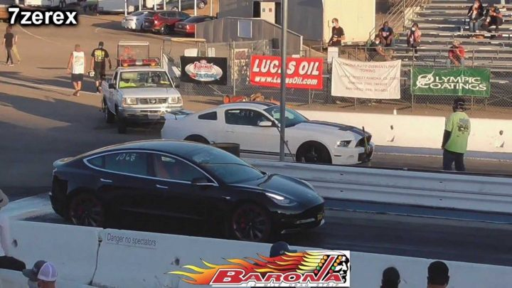 Watch Tesla Model 3 Performance Drag Race Ford Mustang Shelby GT500