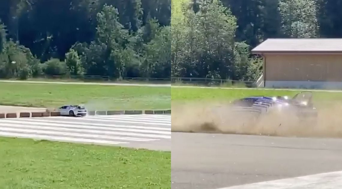 Watch A Bugatti Veyron Have An Expensive Hay Bale Encounter