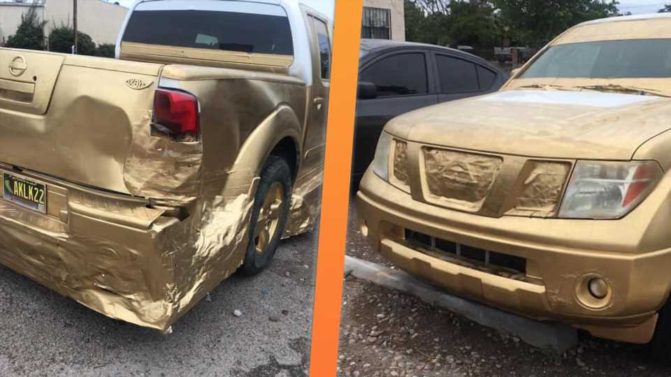 Modding a Nissan Frontier With Duct Tape and Gold Spray Paint Is a Really Good Idea, Turns Out Great