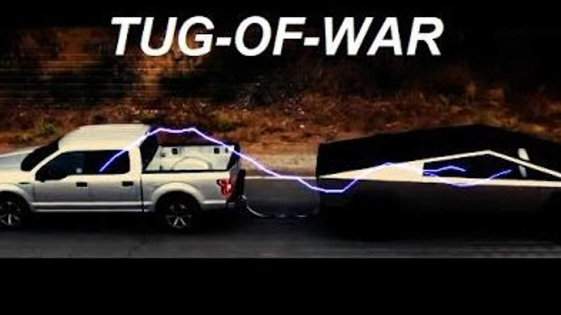 Watch Tiny Tesla Cybertruck Beat Ford F-150 In Tug Of War: Ram Crushes Both