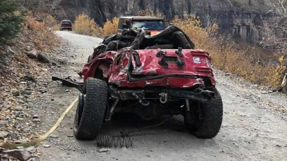 This Jeep Wrangler Is Completely Unrecognizable After Falling Off Colorado's Black Bear Pass