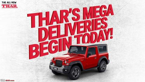 500 units of the Mahindra Thar delivered over the weekend
