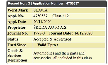 Skoda Slavia trademarked; could it be the Rapid replacement?