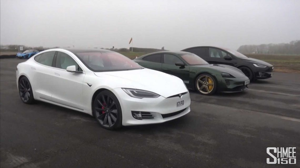See Porsche Taycan Turbo S Race Tesla Model S With Cheetah Stance