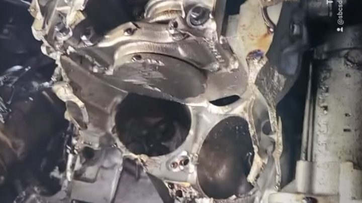 The Aftermath Of A Jeep Revving To 50,000rpm While Being Towed In 4-Low