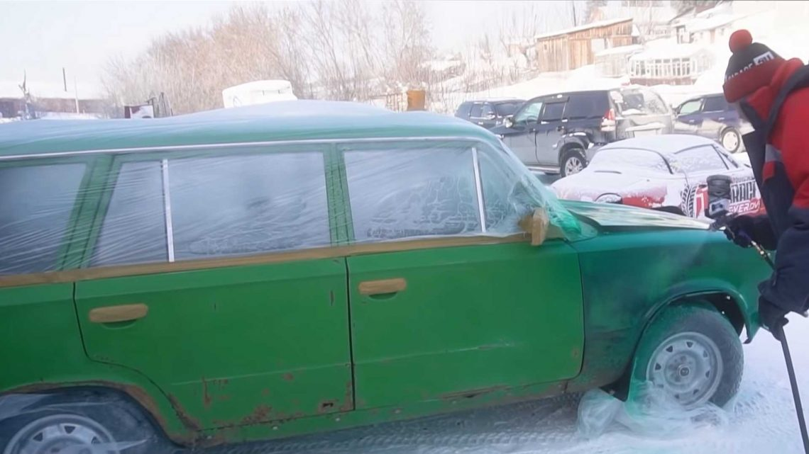 Painting A Lada At Temperatures Well Below Zero Is Not A Good Idea