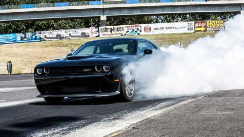 Dodge Challenger Hellcat Leaves Car Event, Crashes Into Chevy Silverado