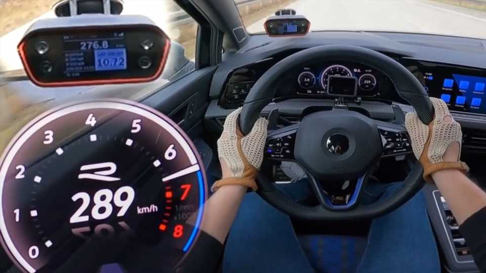 Watch a Stock 2022 Golf R Hit 180 MPH on the Autobahn