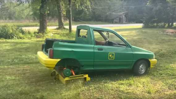 YouTuber Converts TIny Ford Hatchback Into a Giant Lawnmower