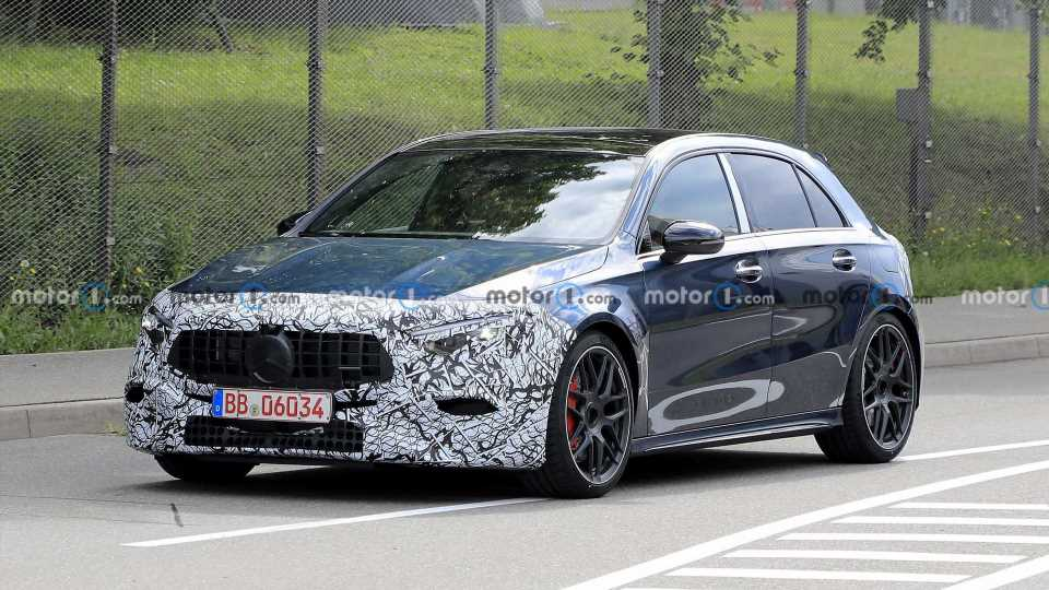 Mercedes-AMG A45 Facelift Makes Spy Photo Debut To Hide New Lights