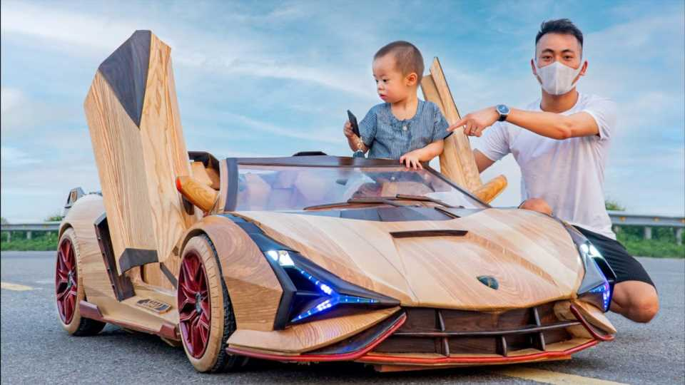 Skilled Craftsman Builds His Son a Functional Lamborghini Sian Out of Wood