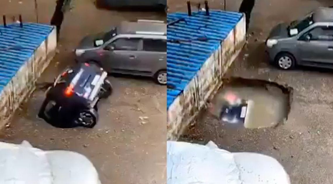 Watch As A Car Is Slowly Swallowed By A Sinkhole