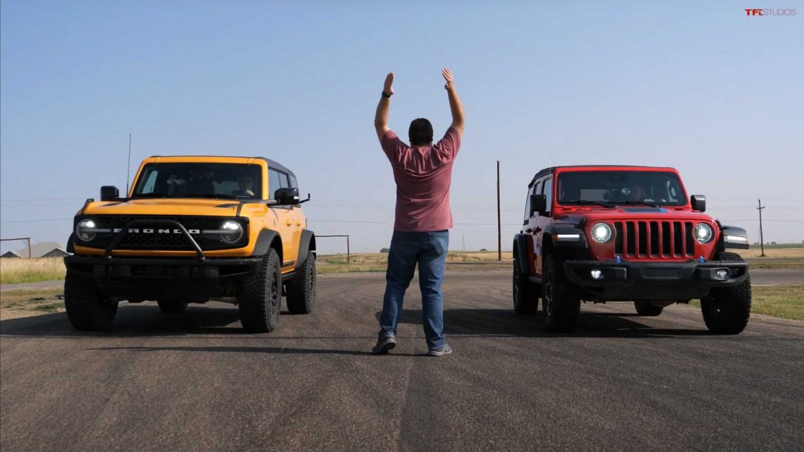 Electrified Jeep Wrangler Faces Ford Bronco In Stunning Drag Race
