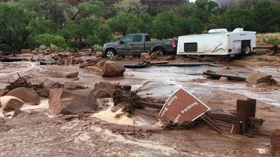 Flash Flood in Zion National Park Buries Over 100 Cars in Red Mud
