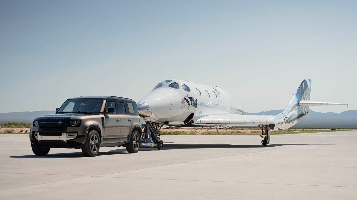 Land Rovers Are Support Vehicles for Virgin Galactic's First Full Flight
