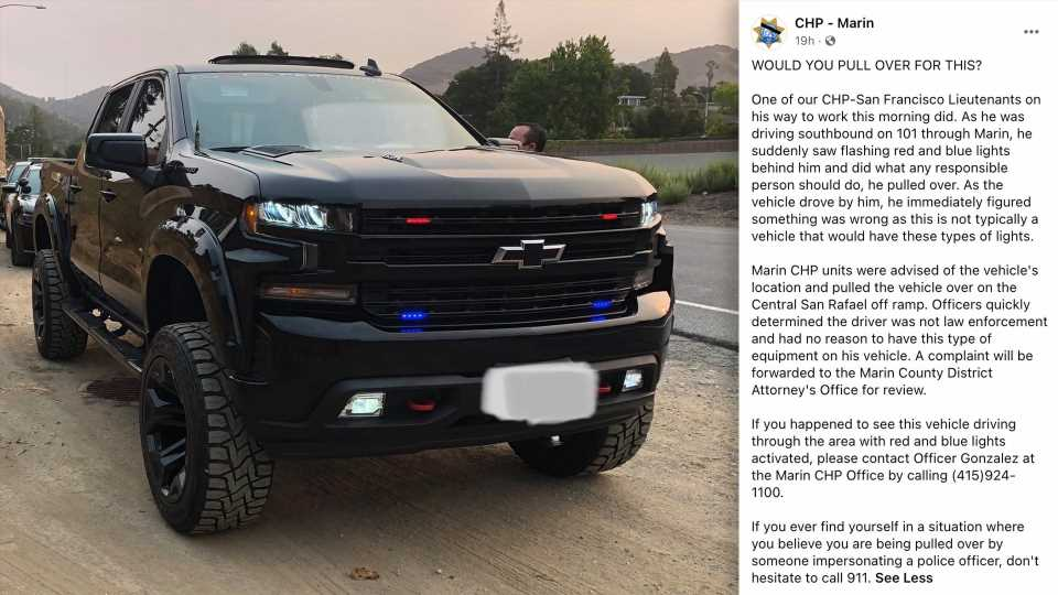 Lifted Chevy Silverado Busted for Clearing Traffic With Fake Police Lights