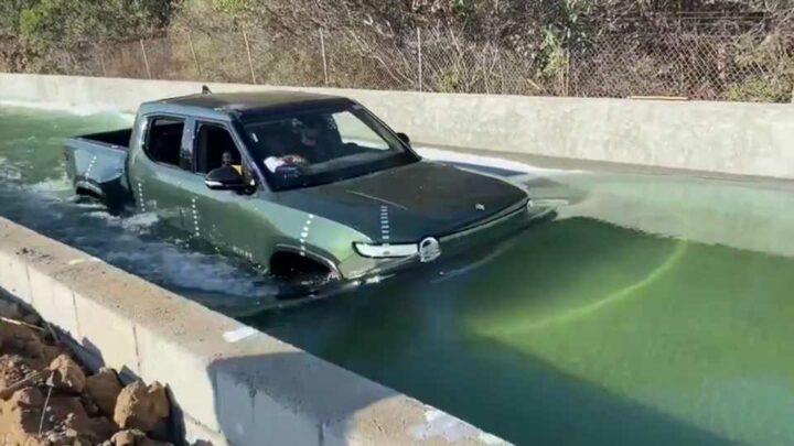 Rivian R1T Shows That Electric Trucks Can Wade Through Deep Water, Too