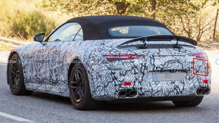 2022 Mercedes-AMG SL Plug-In Hybrid Spied With Charging Port Cap