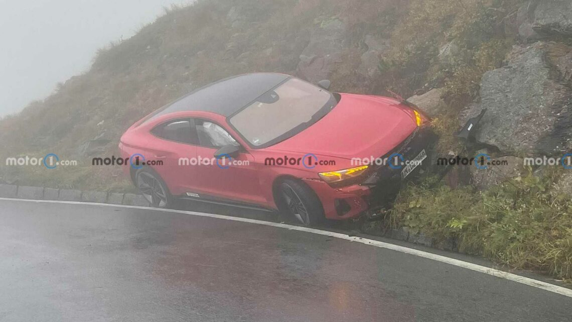 Audi RS E-Tron GT Crashed During Driving Tour On Alpine Road