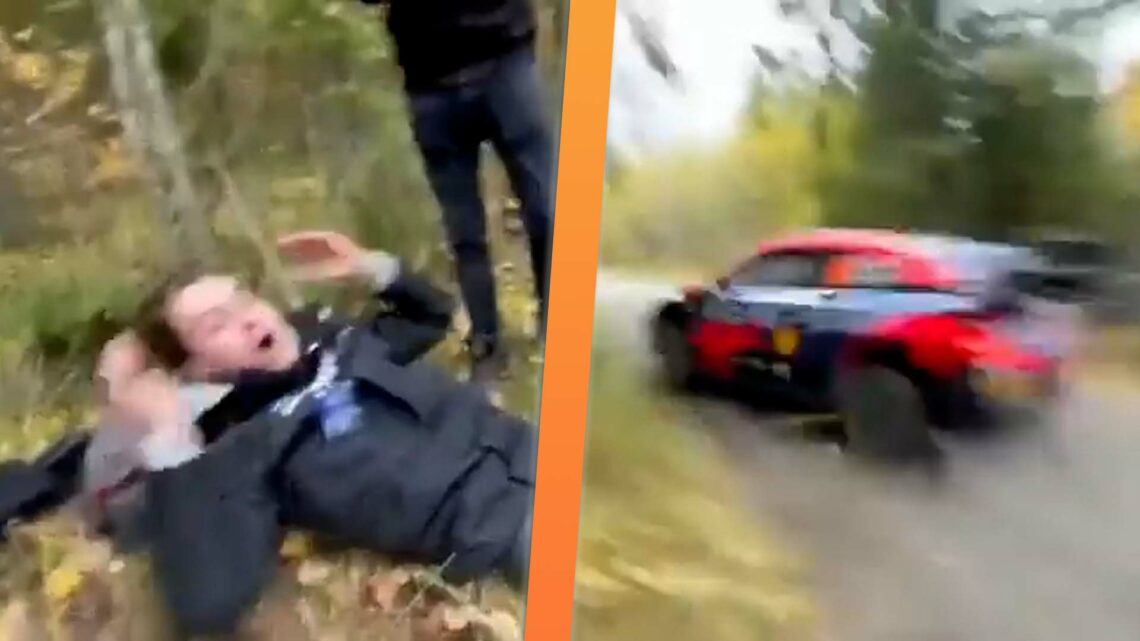 This Is the Only Correct Reaction to Almost Being Hit by a Speeding Rally Car